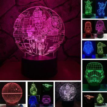 3D LED Action Character Lamps With Changeable Colors