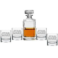 Star Wars Decanter with Engraved Rocks Glasses, Set of 5