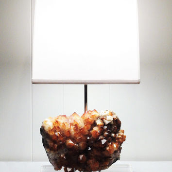 "Stunning Brazilian Citrine Table Lamp ""Gabriella""//Rock Crystal Lamp//Mineral Lamp//Geode Lamp"
