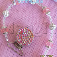 free shipping shiny lovely Baby Crystal Pacifier Clip 5099 Bling Bling rhinestone bead holder 2232diamond Pacifier chain clip
