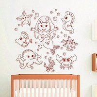 Mermaid Wall Decals Girl Decal Vinyl Water Sticker Art For Nursery Bedroom Home Decor Murals MN962