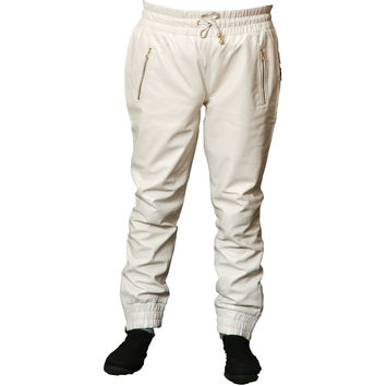 Mens Leather Joggers White Sweat Pants Relaxed Fit Nappa Sheepskin Red Liner