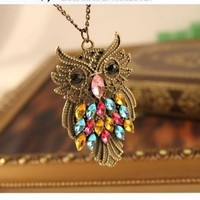 Antique Alloy with Colour Crystal Owl Long Prendant Bronze Necklace~*~
