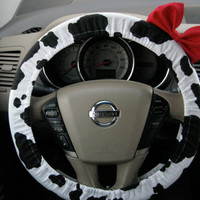 The Original Black and Cow Steering Wheel Cover with Matching Red Bow