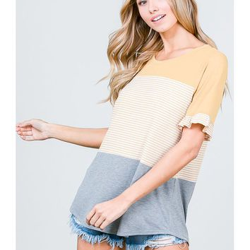 Women Stripe and Color Block Mix Round Neck with Ruffle Cap Sleeve Top