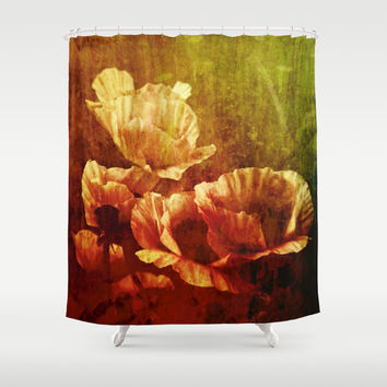 vintage poppies Shower Curtain by Clemm