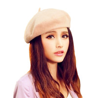 WANAYOU Women Artist Beret Cap,6 Colors French Style Autumn&Winter Vintage Soft Felt Wool Beanie Hat, Fashion Classic Berets