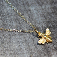 Golden Bee - Real gold bee charm necklace, bee jewelry, bumblebee necklace, honey bee necklace, gold bee necklace, summer jewelry, bee charm