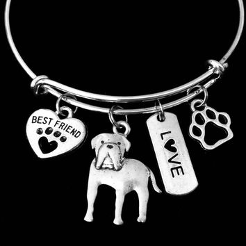 Mastiff Dog Expandable Charm Bracelet Silver Adjustable Wire Bangle Gift Best Friend Paw Print Pet Animal Lover Jewelry Gift