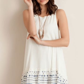 Carmen Drop Waist Print White Dress