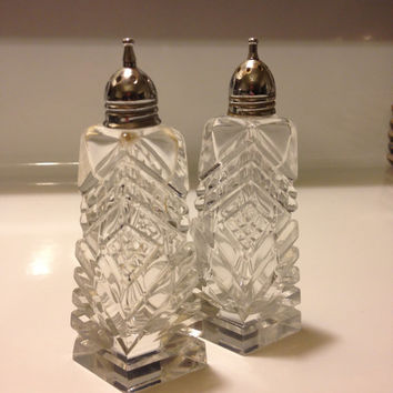 Vintage Heavy Cut Glass Crystal Salt and Pepper Shaker Set Silver Shaker Caps