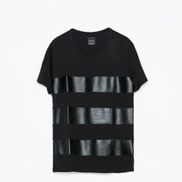 STRIPED FAUX LEATHER COMBINATION T-SHIRT