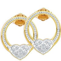 Round Diamond Ladies Heart Fashion Earrings in Gold-plated silver 0.08 ctw