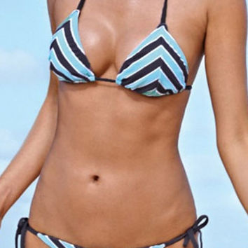 Striped Triangle Print Halter Bikini