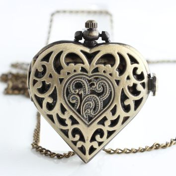 New Arrival Bronze Steampunk Lovely Heart Pocket Watch Necklace Mens Womens jewelry Promoations CF1065