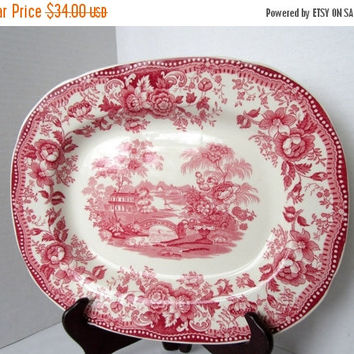 Royal Staffordshire Red Oval Platter Clarice Cliff Transferware Tonquin England