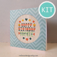 Funny Cross Stitch Greeting CARD - DIY Greeting Card -Personalized Happy Birthday Thank you Get Well Soon xstitch card with special design
