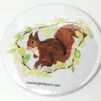 Red Squirrel With Honeysuckle Border in Watercolor Collectable Artist Pin On Button, Adorable Happy Little Squirrel Art Print on Button