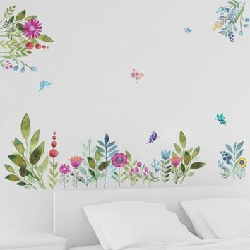 Colorful Garden Flower Flying Birds Butterfly Wall Stickers