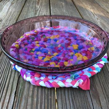 Rustic Braided Rag Rug Trivet for the Boho Home, Upcycled Tie-dye Hot Mat, Tiedye Hippie Home Decor, Alternative Home Accent, Repurposed
