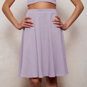 High Waisted Floaty Skater Skirt in Pastel Lilac Purple