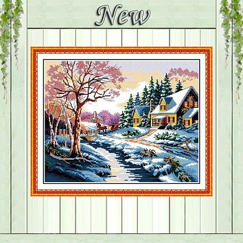 Snowscape,Counted Printed on canvas DMC 11CT 14CT Cross Stitch kit,needlework Set embroidery,Snow winter Scenery Home wall Decor