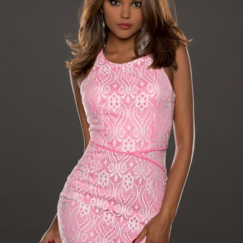 Pink Lace Surface Lined Sleeveless Bodycon Mini Dress