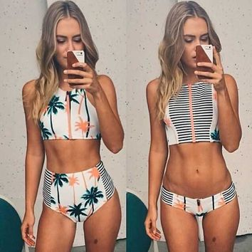 Stripe Coconut tree Print Beach Bikini Set Swimsuit Swimwear