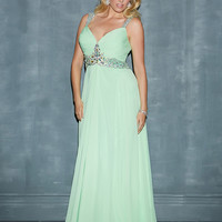 Beaded Straps Open Back Chiffon Plus Size Prom Dress By Night Moves 7138w
