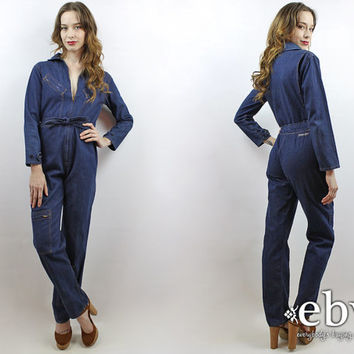 Mechanic Jumpsuit Vintage 70s Dark Denim Jumpsuit S 1970s Jumpsuit 70s Jumpsuit 70s Coveralls 70s Overalls Denim Coveralls Denim Overalls