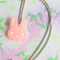 Kawaii bunny pendant - Fairy kei jewelry - sweet lolita - pastel goth - cute charm necklace