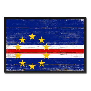 Cape Verde Country National Flag Vintage Canvas Print with Picture Frame Home Decor Wall Art Collection Gift Ideas