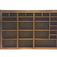 Vintage Printers Tray, Wooden Letterpress Drawer, Cubby Organizer, Shadow Box, Display Case Cabinet, Divided Wall Shelf, Knick Knack Shelves