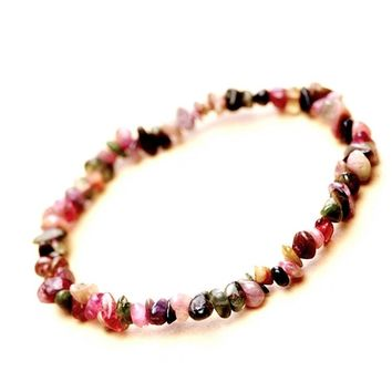 Colorful Tourmaline Bracelet Jewelry Girl Natural Stone Bracelet Wristband Charm Braclet For Female Accessories