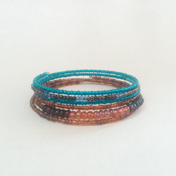Bead Wrap Bracelets; Teal and Brown; Stackable Bracelet Set; Wire Wrap