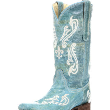 Women's Turquoise Blue Cortez Clef Embroidery Square Toe Boot - R1203