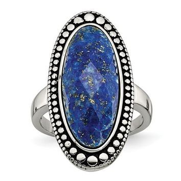 Stainless Steel Large Blue Lapis Ring