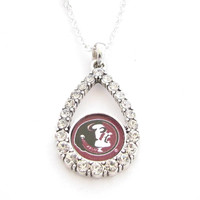Florida State Seminoles NCAA Teardrop Clear Crystal Silver Necklace