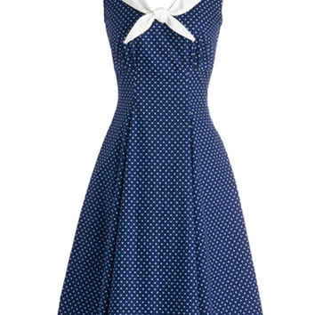 Blue Polka Dot Sleeveless Navy Collar Sheath A-line Mini Skater Dress