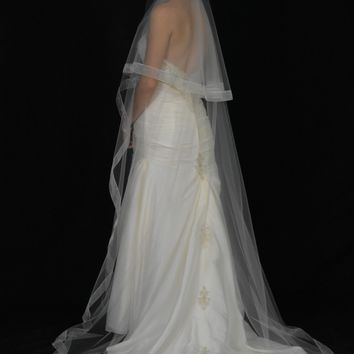 "Two-Tier 30""/90"" Chapel Veil with 1"" Organza Ribbon Edge"
