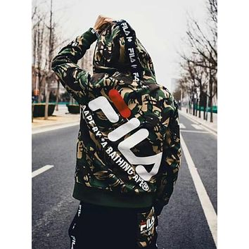 BAPE AAPE X FILA Fashion Men Women Personality Print Hoodie Zipper Sweater Jacket Coat Camouflage
