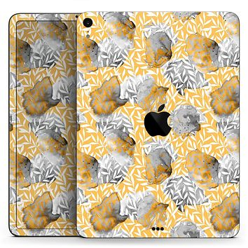 "Karamfila Yellow & Gray Floral V6 - Full Body Skin Decal for the Apple iPad Pro 12.9"", 11"", 10.5"", 9.7"", Air or Mini (All Models Available)"