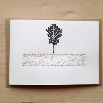 Christmas Card Rustic Folded Card with Linocut Oak Leaf and Gold Glitter, Kraft Envelope