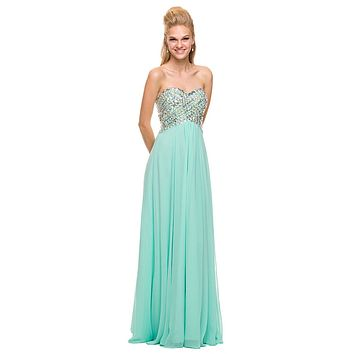 Sparkly Prom Dress Mint Green Floor Length Strapless Empire
