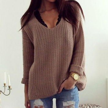 Fashion Womens Brown Loose Long Sleeve V Neck Pullover Sweater + Nice Free Necklace Gift