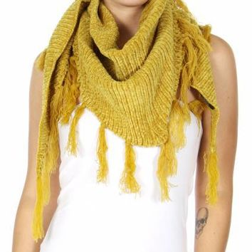 Chenille Frayed Triangle  Soft Scarves and Wraps Yellow