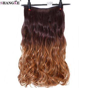 SHANGKE Long Wavy 5 Clip in Hair Extensions Ombre Hairpieces Heat Resistant Synthetic Hair Women Hairstyles