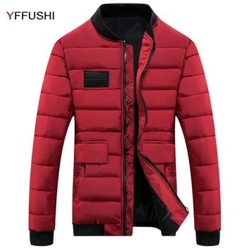 YFFUSHI New Stylish Winter Jacket Men Red Stand Collar Parka Jackets Men Winter Coat Fashion Design Casual Short Length