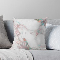 'Turquoise Bronze Marble ' Throw Pillow by Sheila Wenzel