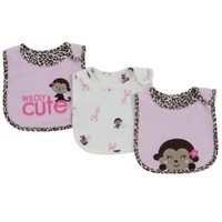 Carters Child of Mine teething/feeding Bib Set of 3 Bibs Cute Monkey, Giraffe, Owl